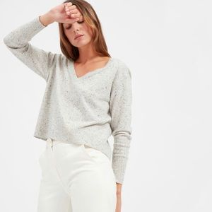 The Cashmere Crop V-Neck - Frost Donegal - Sz M